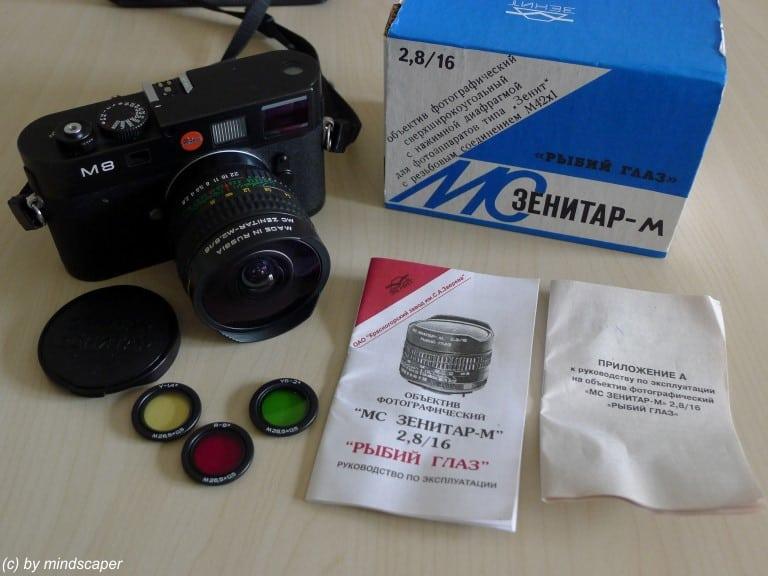 Fisheye Lense MC-Zenitar-M 16/2.8 Equipement with Leica M8 Rangefinder