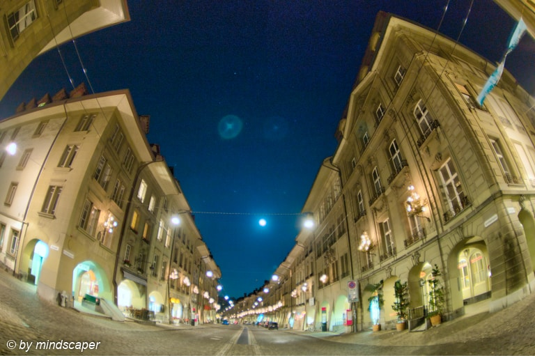 Gerechtigskeitsgasse - Berne Fisheye HDR by Night